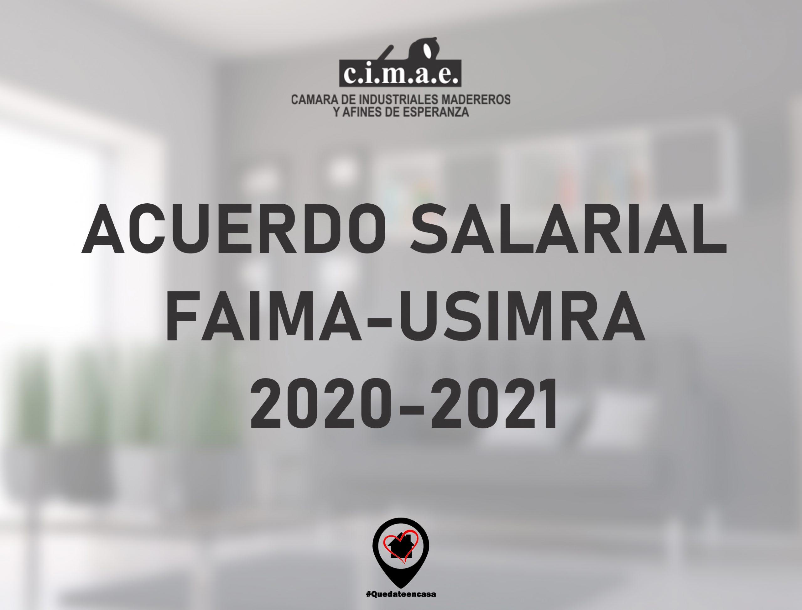 Acuerdo salarial FAIMA-USIMRA 2020-2021: Escalas salariales
